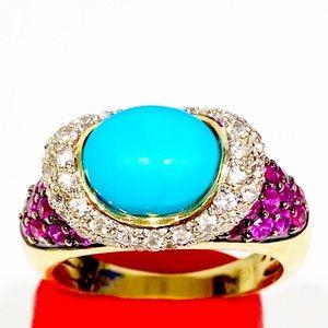 Women's 14k  Ring/Torques /Rhinestone/Crystal